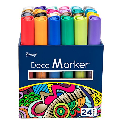 Bianyo Acrylic Paint Marker Pen Set- Medium Tip Art Chalk Colored Pen for Rocking Painting, Drawing, Coloring on Wood, Stones, Fabric, Glass, Ceramics,24 Colors