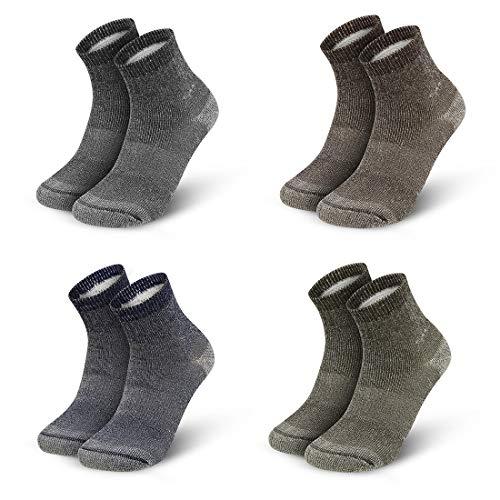 Vihir Merino Socken Herren Wandersocken Trekkingsocken, Wollsocken Sportsocken mit 80% Merino Wolle Antimikrobielle für Outdoor-Aktivitäten, Sport, Freizeit und Business 4Paar, Mehrfarbig
