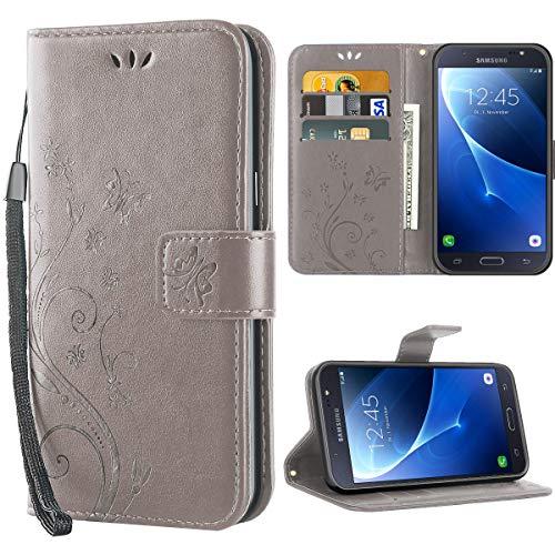 iDoer J7 2016 hülle,Solide Butterfly PU Ledercase Tasche Schutzhülle Samsung Galaxy J7 2016 flipcase Magnetverschluss Handyhülle im Wallet - Grau