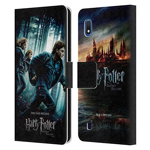 Head Case Designs Officiel Harry Potter Groupe Deathly Hallows VII Coque en Cuir à Portefeuille Compatible avec Samsung Galaxy A10 (2019)