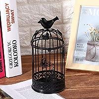 家の装飾の机の卓上結婚式のための檻の形の燭台の芸術(black)
