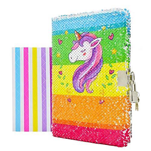 VIPbuy Diario para niña, con diseño de unicornio, con cerradura y llave, reversible, tamaño A5, con esquineras adhesivas para fotos, 21,5cm x 14cm, 156páginas, color Unicornio-arco iris