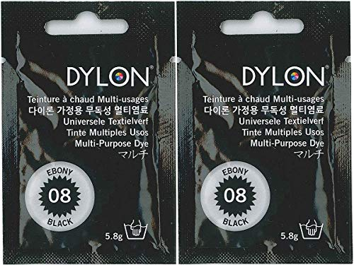 DYLON ダイロン マルチ 衣類 繊維用染料 5.8g col.08 2個セット エボニーブラック 日本正規品