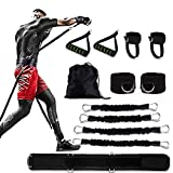 Speed and Agility Shadow Leg Resistance Bands Set Power Punch Pro with Handles /Ankle Waist Straps /Belt, MMA Boxing Resistance Bands Full Body Fitness Workout Bands for Man Women Arms Butt Traning