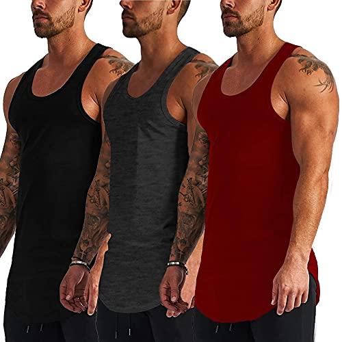 COOFANDY Confezione da 3 canottiera da uomo per allenamento muscolare, senza maniche, per bodybuilding e fitness, nero/rosso/grigio scuro, S
