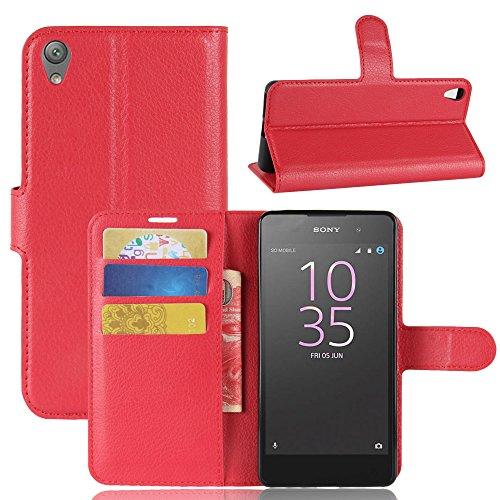 JARNING Compatible con Sony Xperia E5 F3311 F3313 5.0 Inch Fundas de PU Cuero Flip Carcasa Funda con Ranura de Tarjeta Cierre Magnético Kikstand -Rojo