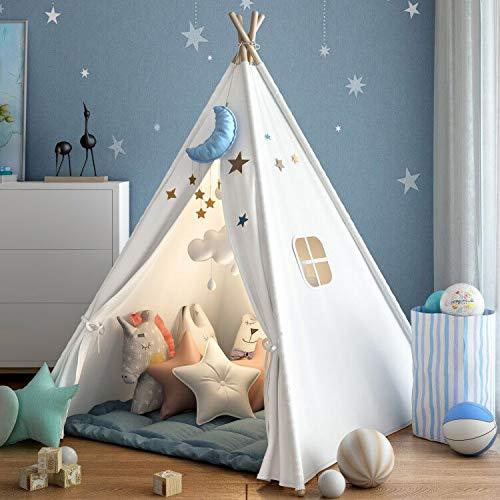 キッズテント 子供用ティピーテント おもちゃハウス 簡単に組立 ポータブル 100%コットン製 秘密基地 お誕生日・クリスマスプレゼント Wilwolfer (白い)