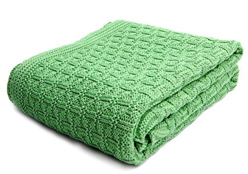 SonnenStrick 3009002 Babydecke/Kuscheldecke/Strickdecke aus 100% Bio Baumwolle kba Made in Germany, 100 x 90 cm, grün
