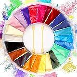 Funxim Epoxidharz Farbe 24er×10g mit Löffel, Seifenfarbe Set Metallic Farbe Resin Farbe, Mica...