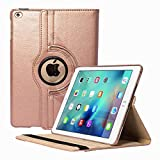 TGK 360 Degree Rotating Leather Smart Case Cover Stand (Auto Sleep/Wake Function) for Apple iPad 6, iPad Air 2 (A1566, A1567) - Gold