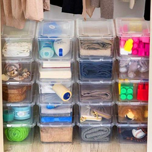 20 Pc Lidded Storage Bins Clear Plastic Shoes Storage Tote Stackable Boxes Sheaker Containers With Lid For Men or Women Transparent Shoe Storage Organizer Closet Tub Solution