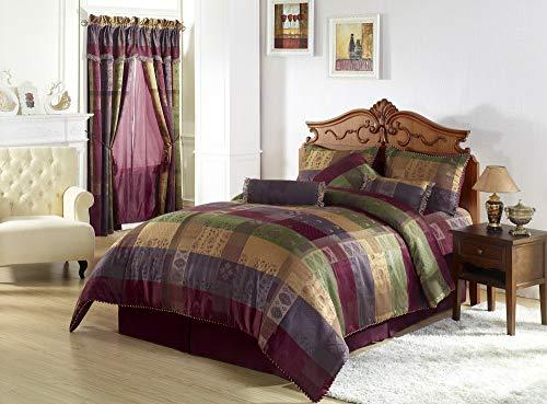 Chezmoi Collection 7 Pieces Multi Color Gitano Jacquard Patchwork Comforter Set Full or Double Size