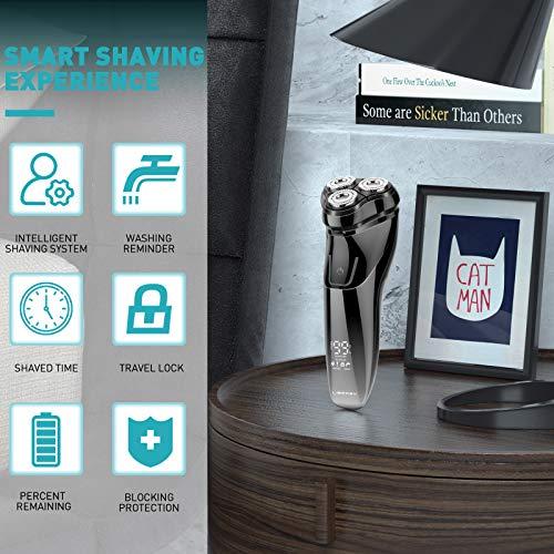 Liberex Rasoio Liberex Wet & Dry con testina mobile 3D, rasoio elettrico per uomo con display LED e alimentatore USB, rasoio con copertura antipolvere, borsa da viaggio e spazzola