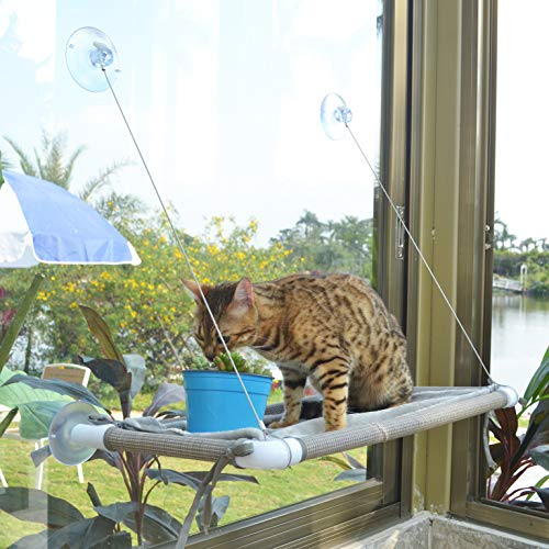 Cat Window Hammock Cat Window Mounted Perch Cat Resting Shelf 360° Sunny Seat Space Saving Cat Beds for Indoor Cats