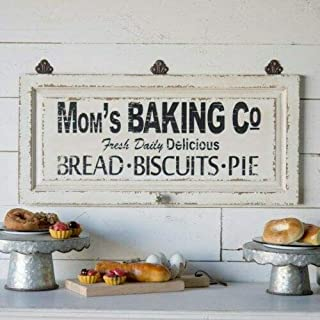 Mom's Baking Co. Wooden Sign Antique White Kitchen Plaque with Acrylic Knob Hanger