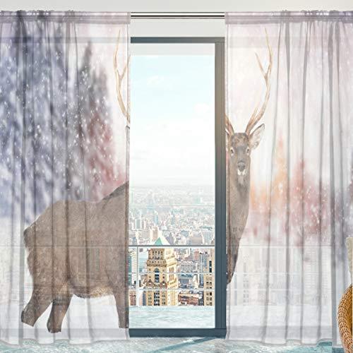 Mnsruu Fenstervorhänge Hirsch im Winter Wald Weicher Tüll Voile Vorhänge für Wohnzimmer Schlafzimmer 140x213cm 2 Paneele