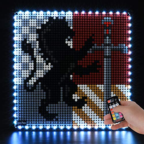 BRIKSMAX Kit de iluminación LED Lego Harry Potter Harry Potter Hogwarts Crests - Compatible con Lego 31201 Building Blocks Model- No incluir el Conjunto de Lego(Versión de Control Remoto)