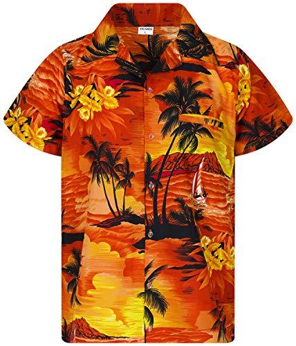 King Kameha Funky Hawaiihemd, Kurzarm, Surf New, Orange, S