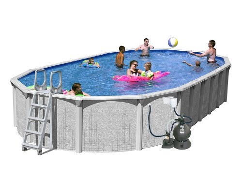 Splash Pools Above Ground Slim Style Oval Pool Package, 30-Feet by 15-Feet by 52-Inch