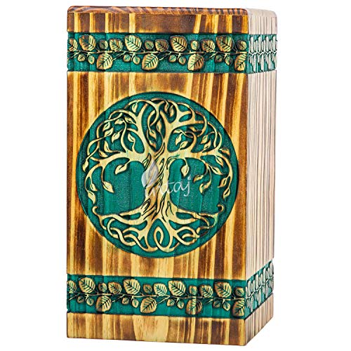 INTAJ Handmade Rosewood Urn for Human Ashes - Adult Tree of Life Wooden Urns Hand-Crafted - Celtic Funeral Cremation Urn for Dogs Engraved (Celtic Pine, X-Small - 7.50Hx4.25W (100 Cu/in))
