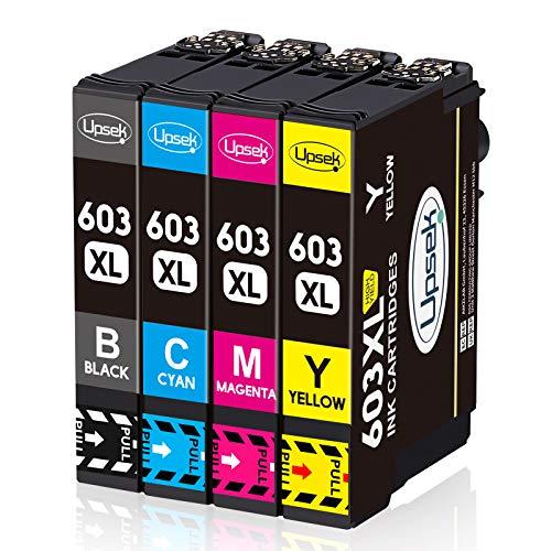 Upsek 603XL Cartouche d'encre Compatible pour Epson 603 XL Multipack pour Epson Expression Home XP-2100 XP-2105 XP-3100 XP-3105 XP-4100 XP-4105 Workforce WF-2810 WF-2830 WF-2835 WF-2850