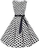 Bbonlinedress 50s Vestidos Vintage Retro Rockabilly Clásico White Black Big Dot L...