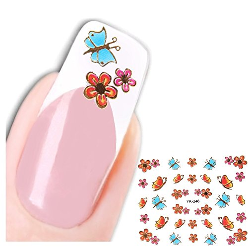Just Fox – sch3d Stickers papillon Butterfly fleur autocollants pour ongles nail art New Design