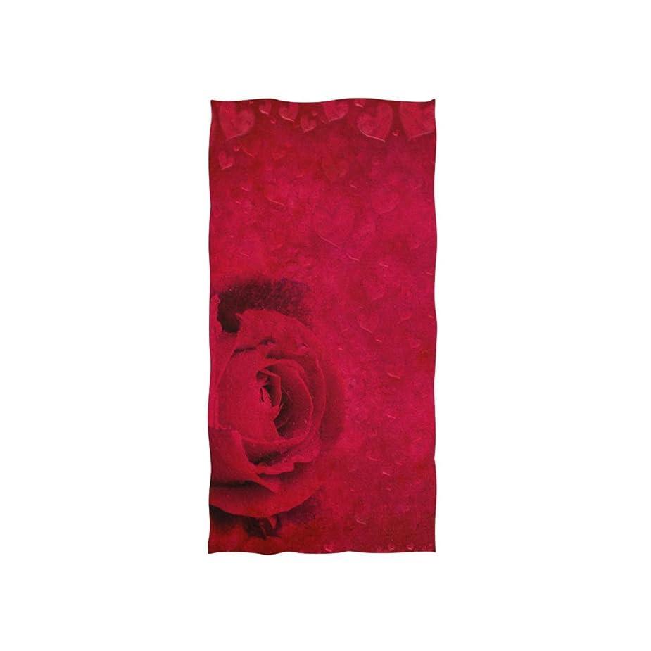 枯れるリア王学校教育ロマンチックな赤いバラの花のつぼみハートバレンタインデー愛の花を印刷ソフトバスタオル吸水ハンドタオル多目的トイレのためのジムのあるホテルとスパ40x70cm [並行輸入品]