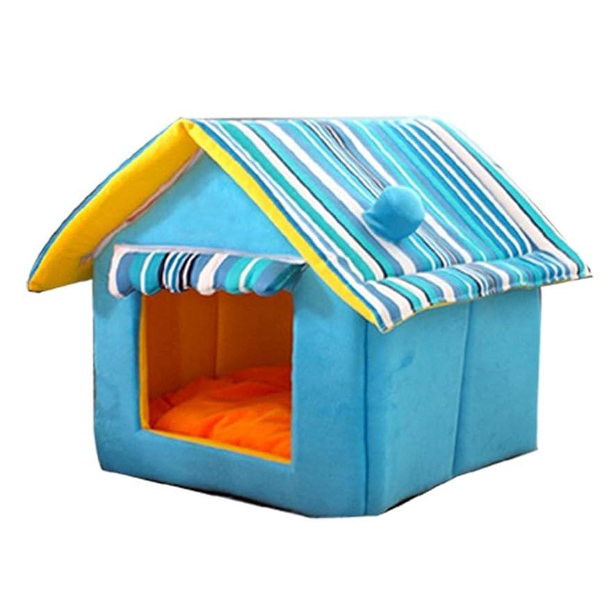 通常忘れる悲惨な猫 ベッド ドーム型 ペット1?10キロのための猫と犬ペットハウスオールシーズンズブルーペットベッド (Color : Blue, Size : XL)