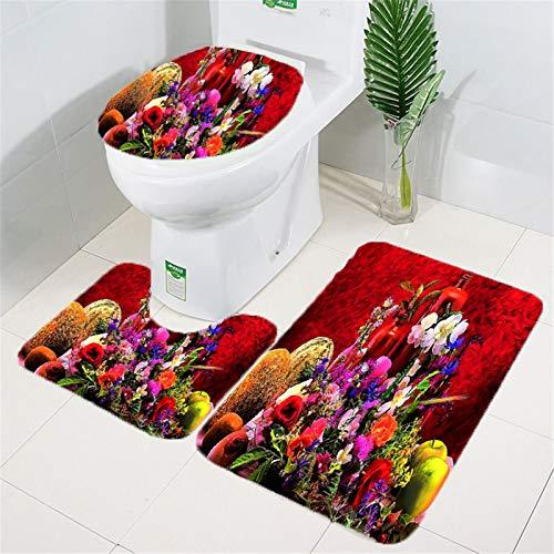 WOMNSDN Juego de 3 alfombrillas de baño, antideslizantes, suaves, absorbentes, con recorte para inodoro (75 x 45 cm)