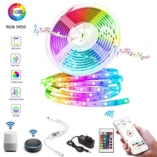 LED Licht Streifen 5m, Alexa LED Strip,Sync mit Musik, 16 Mio Farben steuerbar via App, WIFI RGB LED Streifen Kompatibel mit Amazon Alexa, Google Home, IFTTT,für Deko Party Weihnachten
