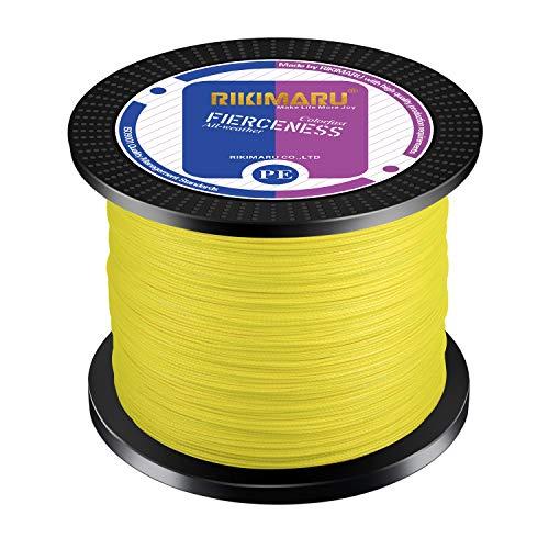 RIKIMARU Braided Fishing Line Abrasion Resistant Superline Zero Stretch&Low Memory Extra Thin Diameter Yellow 327Yds,4LB