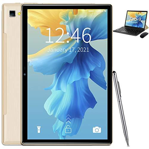 Tablet 10 pollici Android 10 5G WiFi Tablet 4 GB RAM 64 GB ROM 128 GB espandibile, Quad-Core 1.6 GHz, Tablet con tastiera e mouse, HD IPS, doppia fotocamera, batteria 6000 mAh, OTG, Bluetooth, Type-C