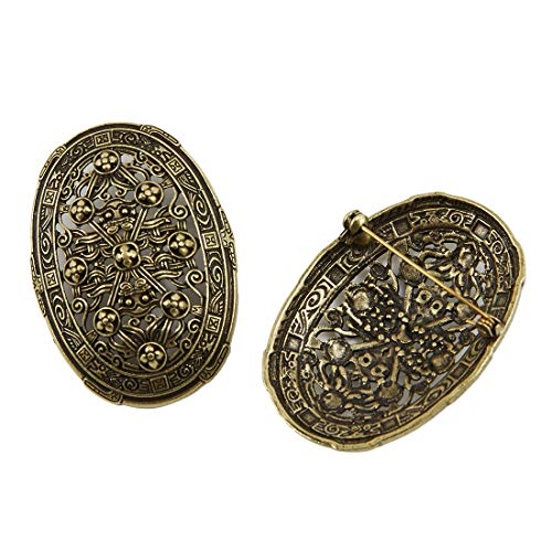 KOGOGO Viking Brooches Celtic Pins Norse Jewelry 2 Pieces(Bronze)