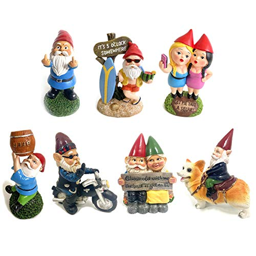 Neihan Garden gnome statue,Garden decorations dwarf resin crafts cartoon dwarf statue decoration(Multi)