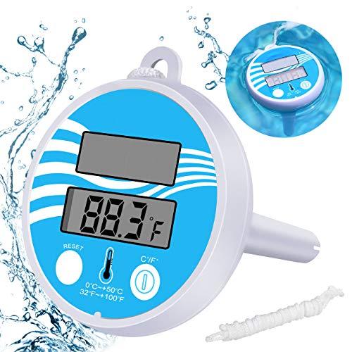 Gafild Termómetro Digital para Piscinas Termómetro Flotante De Energía Solar Medidor De Temperatura De Agua Flotante Preciso para SPA De Piscina
