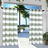 Exclusive Home Curtains Indoor/Outdoor Stripe Cabana Grommet Top Curtain Panel Pair, 54x96, Sea Foam, 2 Count