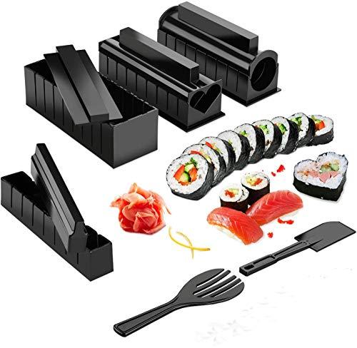 Kit completo de Sushi Maki,Cocina Sushi Maker 11 Piezas de Arroz Japonés Compatible Maki Set con Cuchillo + Rodillo Esteras para hacer Maki/Sushie Rounds Sushi kit del Fácil y divertido DIY Set