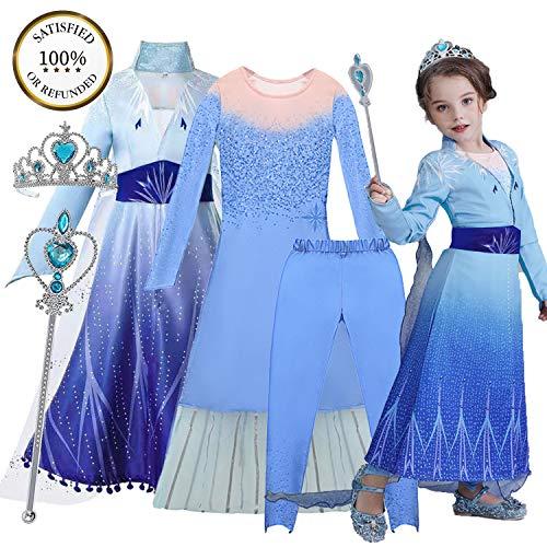 O³ Elsa Princesa Vestido - Disfraz de Princesa Elsa - 110-150 cm - 5 Tamaños - con Varita Magica y Corona (Elsa 140)