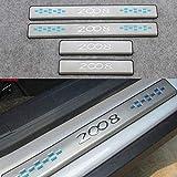DSJH Pedal del Coche Kick Placas, Desgaste del Acero Inoxidable de la Placa Pegatina for Peugeot 2008 2014-2016 Car Styling umbral de protección de Ajuste de la Cubierta de 4 PC 0806 (Color : A)