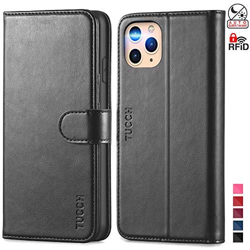 Custodia iPhone 11 Pro, TUCCH [Auto Wake/Sleep] Cover Pelle Sintetica iPhone 11 Pro [RFID Blocking], Custodia Portafoglio Funzione di Supporto Slot per Schede per iPhone 11 Pro (5,8 pollici) - Nero