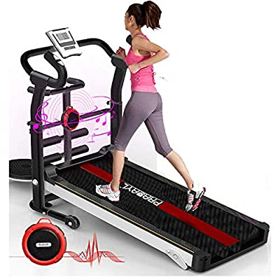 Folding Treadmill, Manual Running Machine with APP Monitoring, Wireless Speaker, Sit-ups Pannel, T-Twisting Machine, Waist Training Tray, Draw Rope Mechanical and Massage Wheel with Tablet Stand.