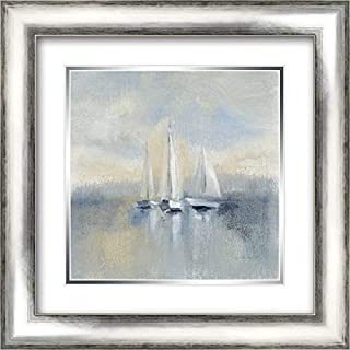 Morning Sail I Blue 20x20 Silver Contemporary Wood Framed and Double Matted Art Print by Vassileva, Silvia