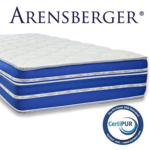 Arensberger ® Flexx 9 Zonen Matratze mit 3D-Memory Foam, 90cm x 200cm, Höhe 25 cm, Allergiker geeignet, 2 Schichten: Kaltschaum + Visco Smart Schaum