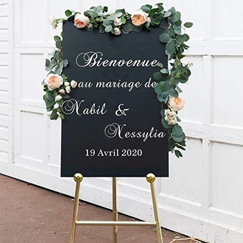 Bienvenue mariage miroir décalcomanie noms personnalisés Date vinyle autocollant mural signe de mariage graphique lieu décor mur Art affiche français 57 * 57 cm