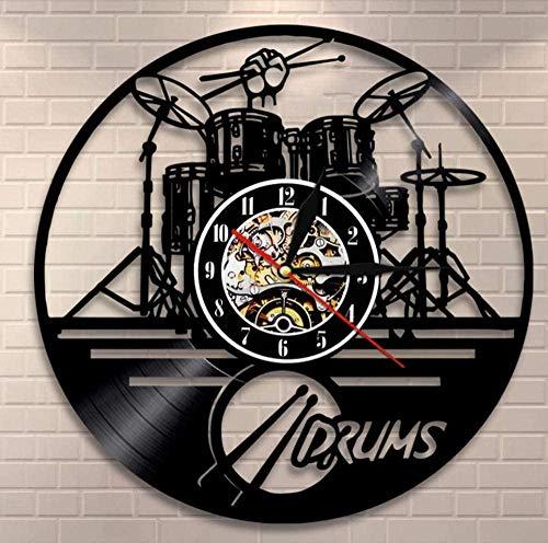 WJUNM Tambor batería Reloj de Pared Instrumento Musical Kit de batería decoración de Pared Disco de Vinilo Reloj de Pared Amante de la música Regalo de batería