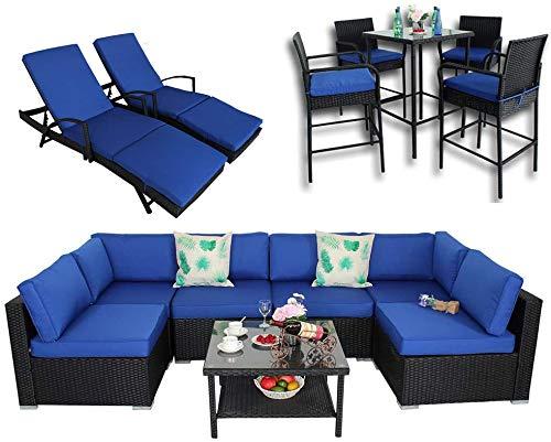Patio Garden Big Sectional Black Rattan Furniture Set | 7 Piece-B Sofa | 2 Piece Lounge Chaise | 5 Piece Bar Set(14 Piece, Royal Blue)