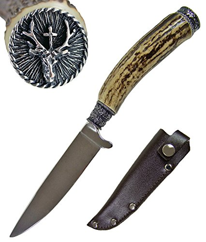 Funk Hirschhorn Cuchillo para traje regional con tapa ornamental, ciervo Hubertushy, inoxidable, producto natural combinado con acero, para los amantes del traje regional