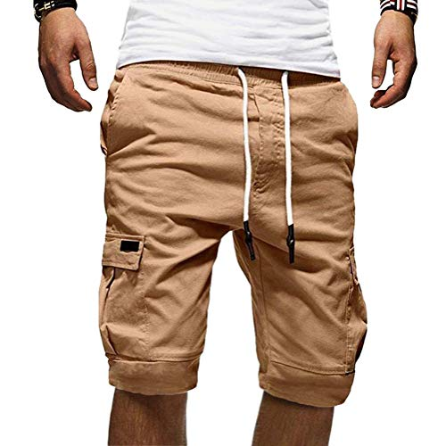 Onsoyours Herren Cargo Hose Shorts Sommer Freizeit Bermuda Kurze Hose Chino Training Jogging Hose Mit Kordel Regular Fit Khaki X-Large