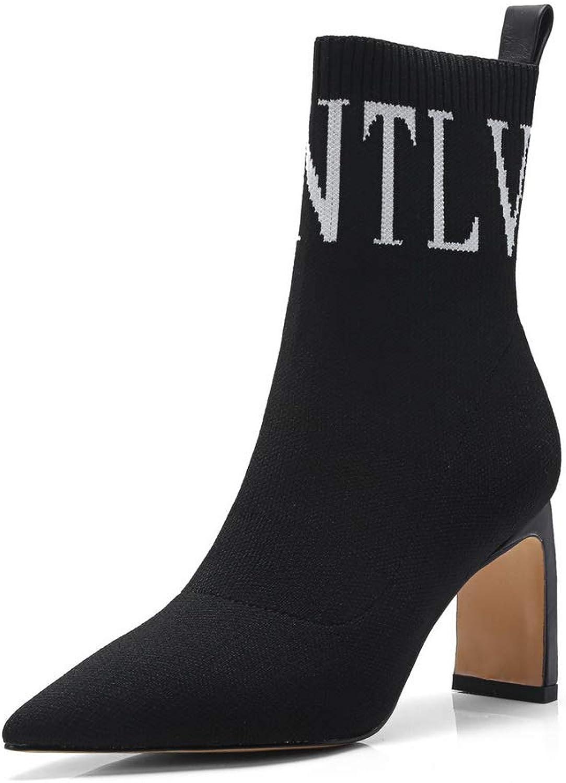 AdeeSu Womens Ornamented High-Heels Bucket-Style Leather Boots SXE04744